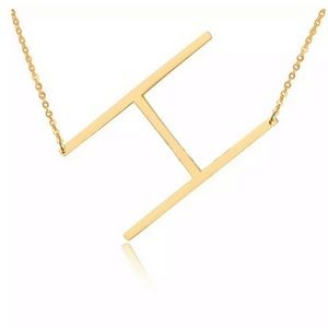 Jewelry - H Block Letter Monogram Stainless Steel Necklace